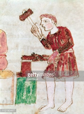 Fine art : Blacksmith. Miniature from De Universo (De Rerum Naturis), by Rabanus Maurus Magnentius a.k.a Rabanus Maurus (c.780_856). 9th century. Archives of the Abbey of Montecassino, Montecassino, Italy
