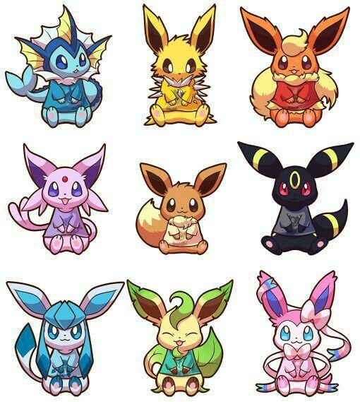 Eevee evolutions, Flareon, Jolteon, Glaceon, Leafeon, Umbreon, Espeon, Sylveon, Vaporeon, cute ...