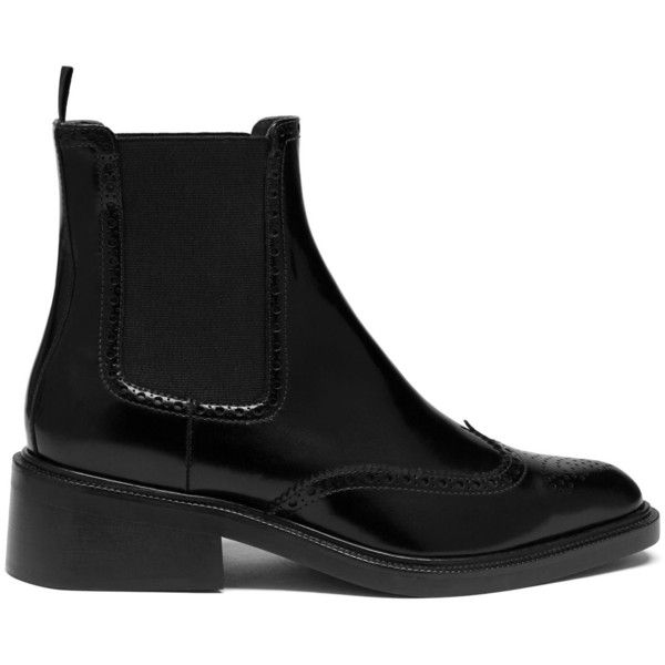 Mulberry Oxford Chelsea Boot ($790) ❤ liked on Polyvore featuring shoes, boots, ankle booties, black, chelsea boots, flat booties, flat chelsea boots, oxford booties and slip on boots