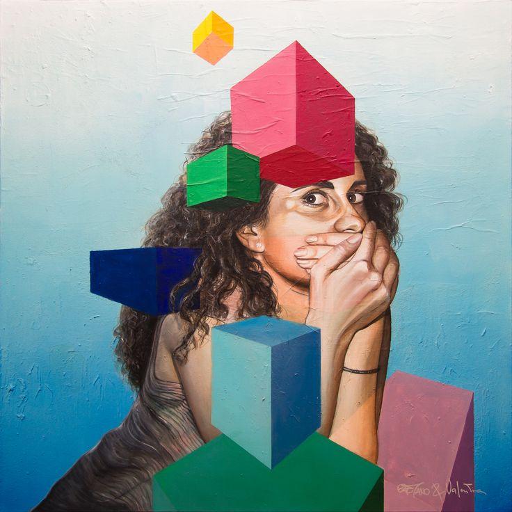 V ©2016, acrylic on paper and canvas 100 x 100 x 3,8 cm - 39.4 x 39.4 x 1.50 in Serie: 30 / Trentesimi  Keywords: portrait, realism, blue, woman, italy, selfportrait, GaeTano & Valentina, SCENOGRAPH2ART, abstract, geometric, girl, hand