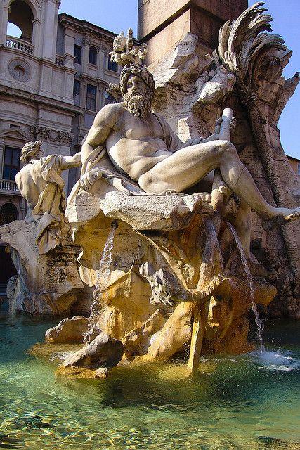 """The Fontana dei Quattro Fiumi or """"Fountain of the Four Rivers"""", located in Piazza Navona, Rome, designed in 1651 by Bernini"""