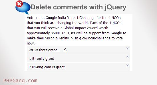 How to delete comments with jQuery
