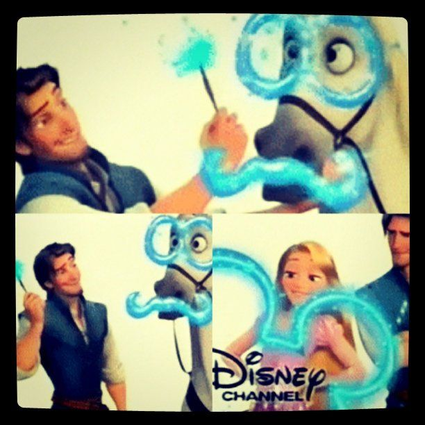 """We're Rapunzel and Eugene from TANGLED and you're watching Disney Channel!"""