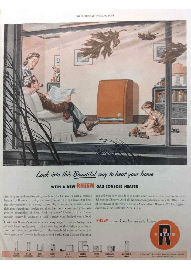 1946 Rheem Gas Console Heater Vintage Ad