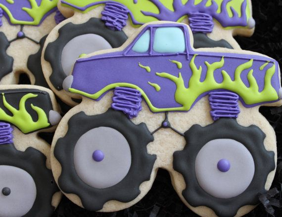 This listing is for one dozen Monstrous Monster Truck custom sugar cookies. These cookies would be the perfect birthday favor for that special