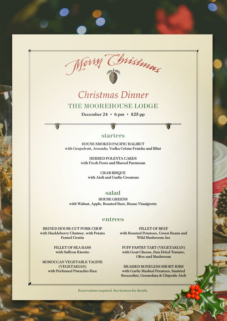 13 best Christmas images on Pinterest Christmas dinner menu - lunch menu template free