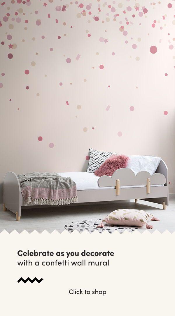 Pink Confetti Sprinkle Wallpaper Mural Murals Wallpaper In 2021 Girls Room Wallpaper Children Room Girl Girl Room