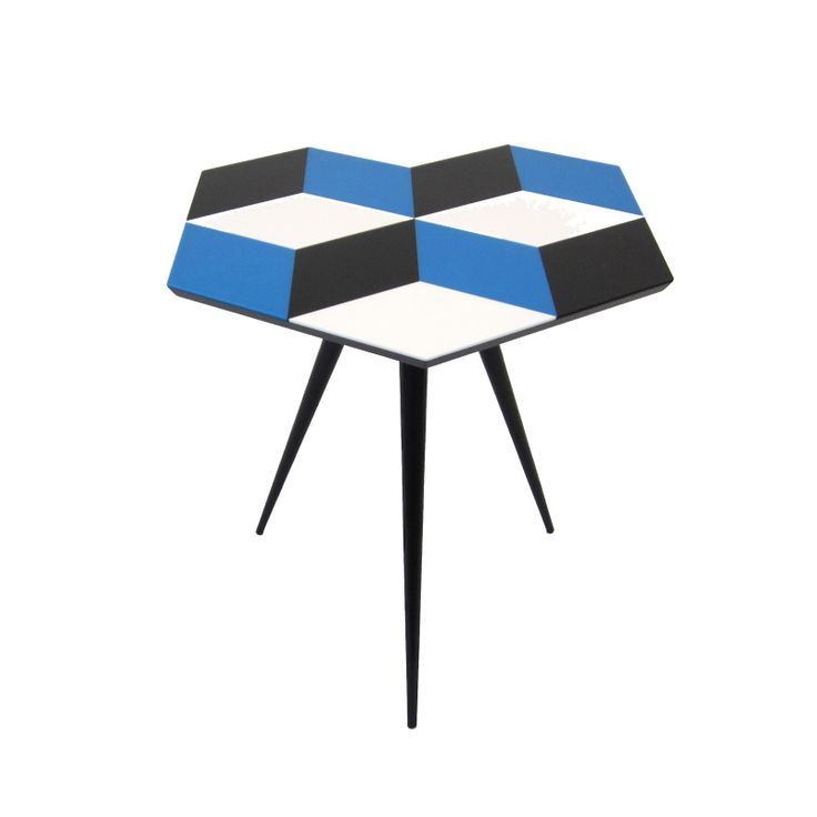 Geometric Living Range Side Table with Cast Acrylic Geometric parquetry top, in Blue / White / Black pieces, bonded on a black dyed wood fiberboard top, with Oak tapered legs, finished in black shellac and lacquer. Each table is handmade to order in our London studio, and has the ROCKMAN & ROCKMAN enamel badge underneath. Geometric parquetry side table in Blue / White / Black Acrylics.