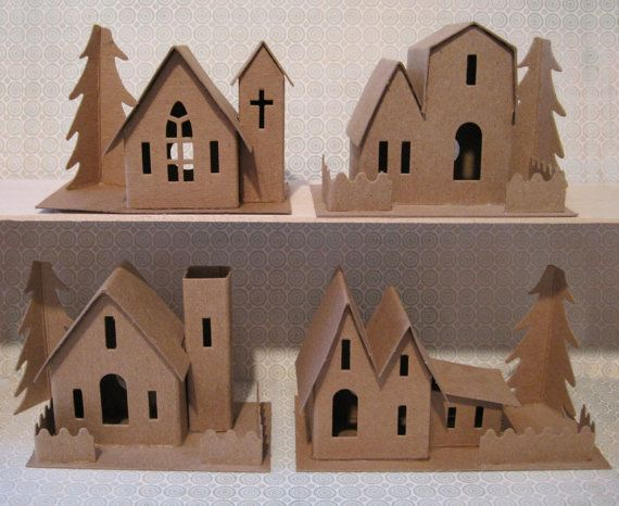 Dimestore Village by amysmith163 on Etsy Great idea!  This Etsy store has the pre printed and scored cardboard houses already to punch out and decorate