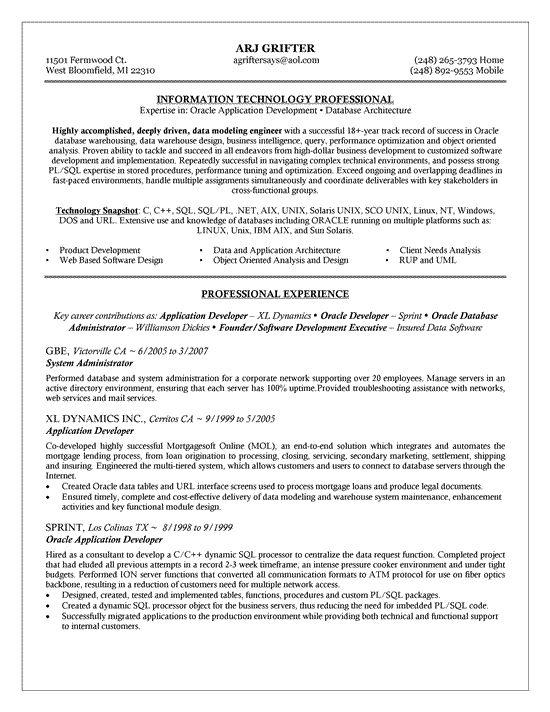 dba resume sample