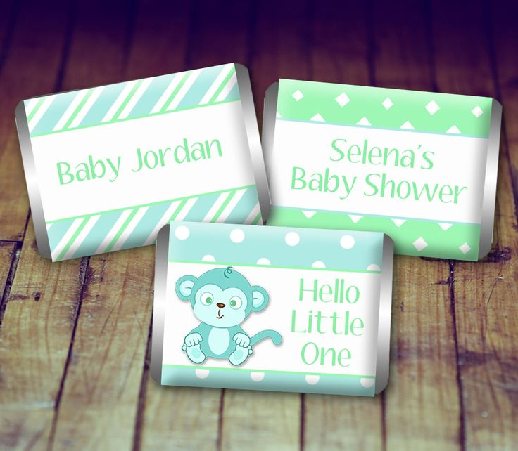 Mini Candy Wrapper - Baby Shower Boy, Baby Shower Favor, Blue and Green Baby Shower, Personalized Baby, Printable Baby Shower, Baby Monkey by LittlePrintsOttawa on Etsy
