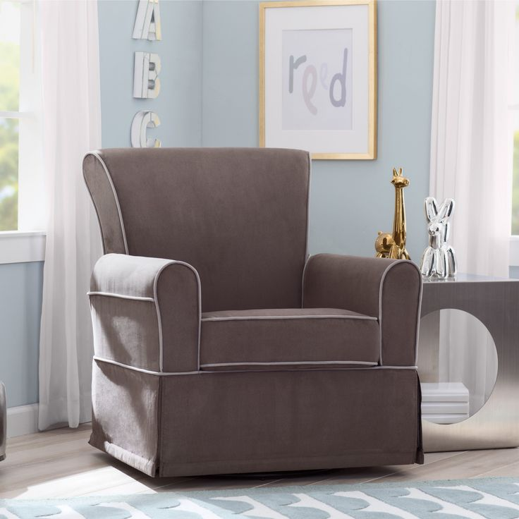 Delta Children Benbridge Nursery Glider Swivel Rocker Chair, Graphite with Dove Grey Welt (Graphite & Dove Grey) (MDF)