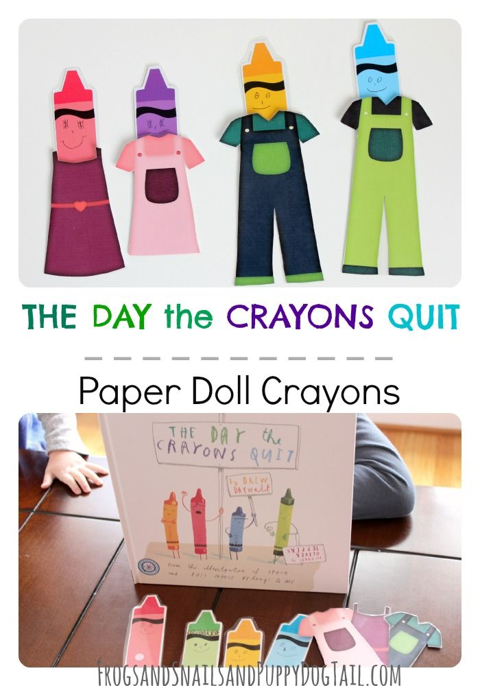 """This is such a cute literacy activity for kids! They're Paper Doll Crayons inspired by the book """"The Day the Crayons Quit!"""""""