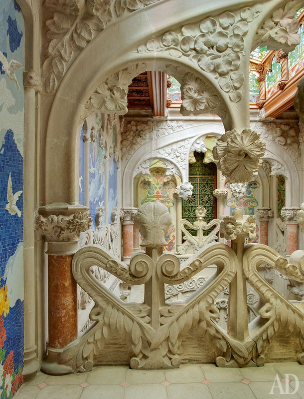 Casa Navas, Catalonia Spain. The courtyard is decorated with stucco and paintings based on sketches by Thomas Bergady.