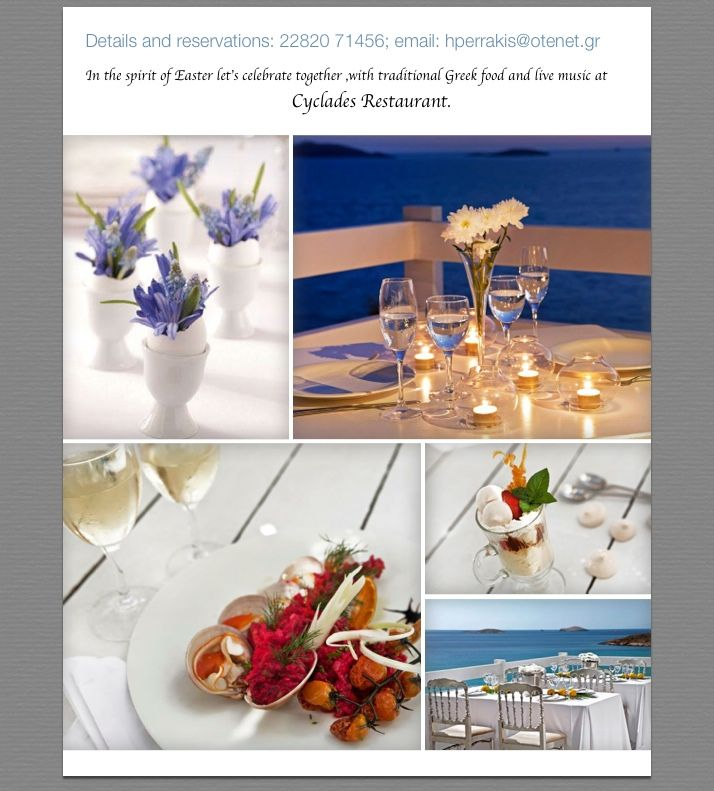 Easter celebration,traditional Greek food and live music at Cyclades Restaurant