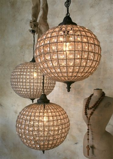 Eloquence Globe Chandelier: Mixed metals and glass beads combine in an antique reproduction chandelier with all the glamour of the past. The globe shaped light is hand strung and includes a 9-11 inch chain and European standard canopy. Wired with 2 prong plug. Max voltage 60 watts. $400.00 #crystal #light