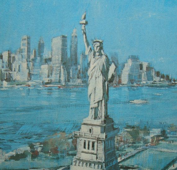 Statue of Liberty New York City Vintage Print on Matte Board RESERVED FOR PUESHEL