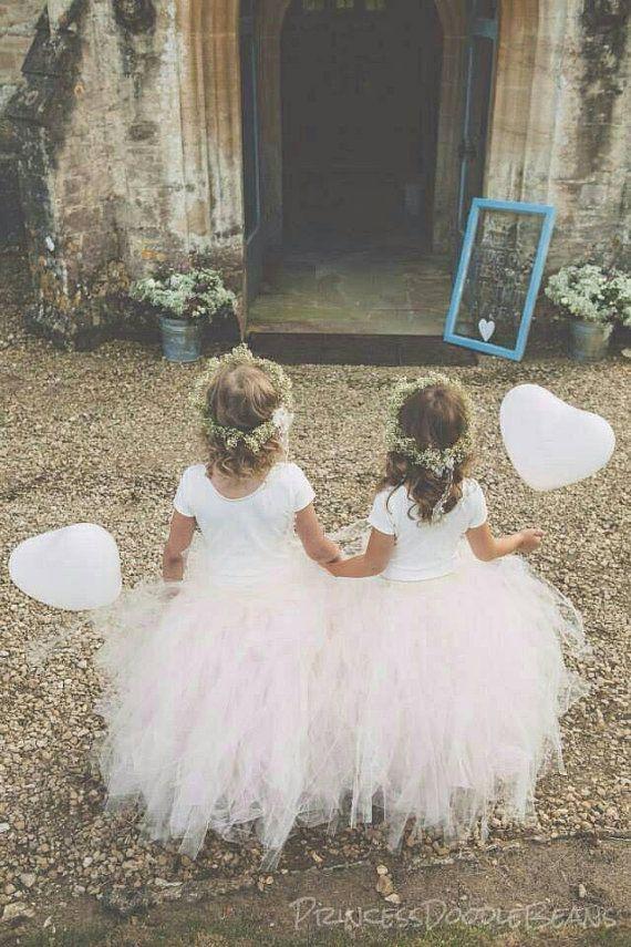 Blush roze bloemenmeisje Tulle rok in door princessdoodlebeans
