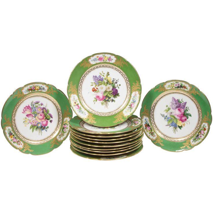 Set of 12 French u0027Vieux Parisu0027 Feuillet Porcelain Green-Ground Dessert Plates  sc 1 st  Pinterest & 59 best DESSERT-SERVICE - Jean Pierre Feuillet images on Pinterest ...