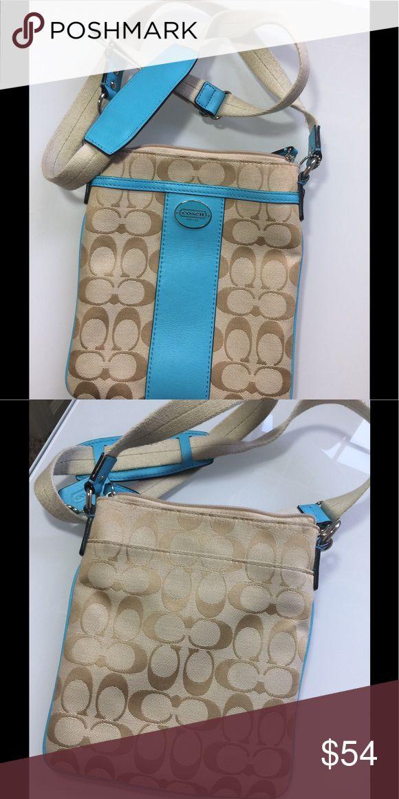 Coach swingpack cross body handbag Beautiful blue khaki small bag Signature authentic Coach  8.5 x 7.5 Coach Bags Crossbody Bags
