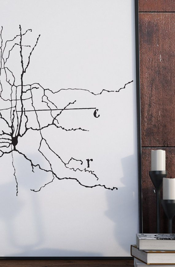 A print of one of Santiago y Cajals famous sketches of neurons. Cerebral cortex neurons. A unique gift idea for those studying neurology, teachers or those who just love science and medicine. Theres something about neurons. Something special. In a sense they are what make us, every