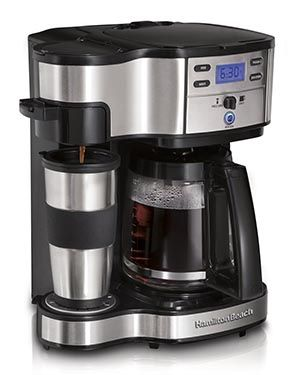 Hamilton Beach 49980A coffee makers brew great coffee with flexibility of a Single Cup Coffee Machine, or as a full size Family Coffee maker in one machine.