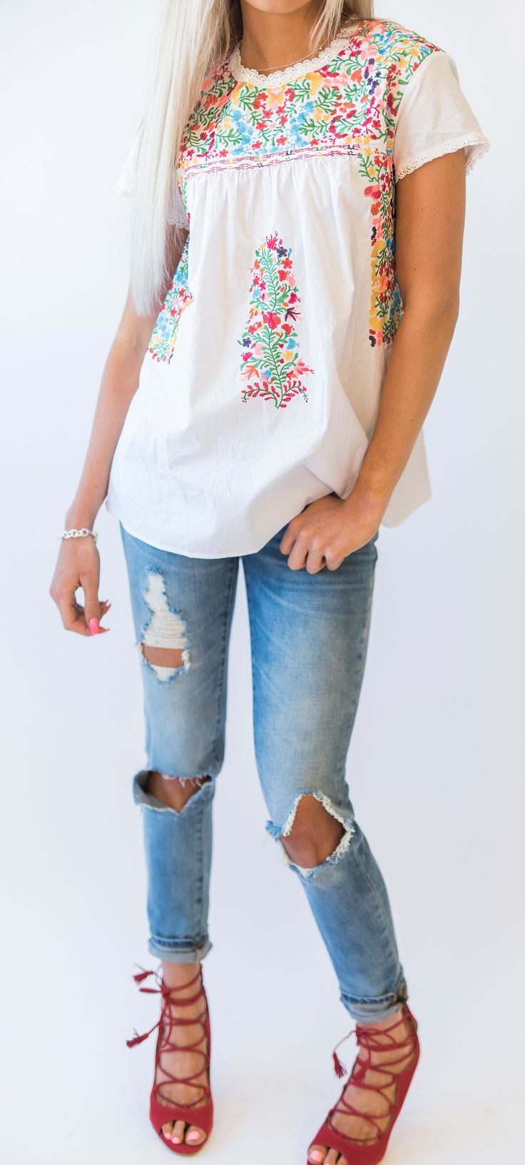 Gabby Embroidered Top - Mindy Mae's Market - online boutique for cute clothes
