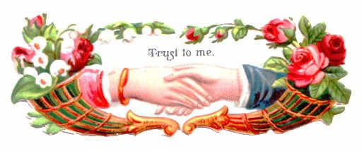 #26 victorian die cut scrap vintage German ephemera c 1890 clasped hands  TRUST: