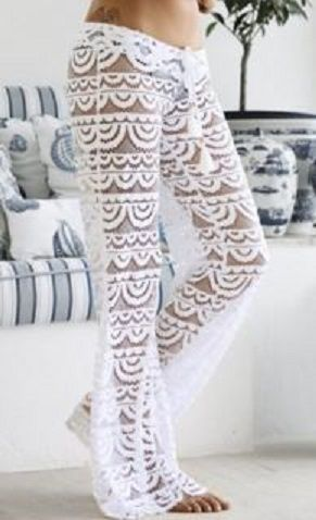Pretty! Sexy White Lace See-Through Solid Color Beach Pants For Women #Poolside #Fashion #White #Lace #Beach #Pants