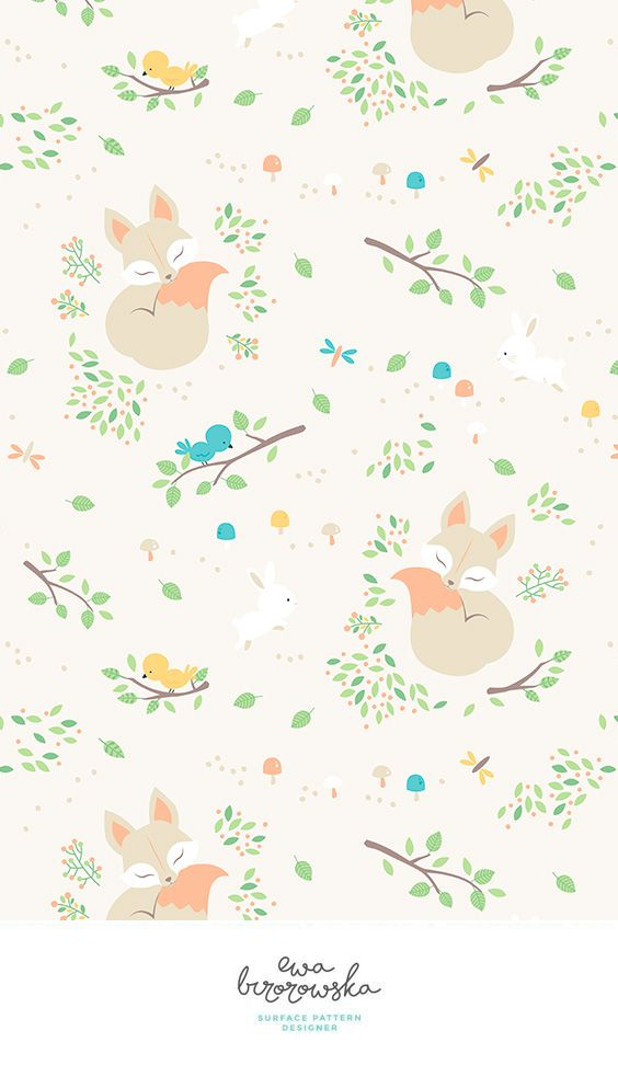 Sleeping fox in a different way! Spring surface pattern design in pastel colors and the motif of sleeping fox.