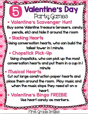 Valentine's Day Party Game ideas and a FREEBIE in this blog post