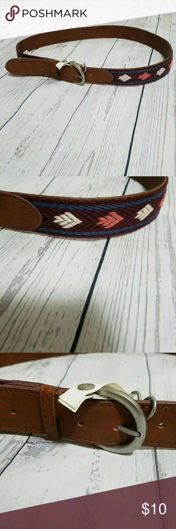 AEO embroidered faux leather belt Tan faux leather silver buckle. Western style embroidery. Burgandy/plum with pink, white and blue. Accessories Belts