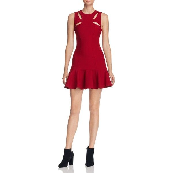 Cinq a Sept Scorpio Cutout Dress ($405) ❤ liked on Polyvore featuring dresses, crimson, red cut-out dresses, cut out dresses, crimson dress, red dress and red cut out dress