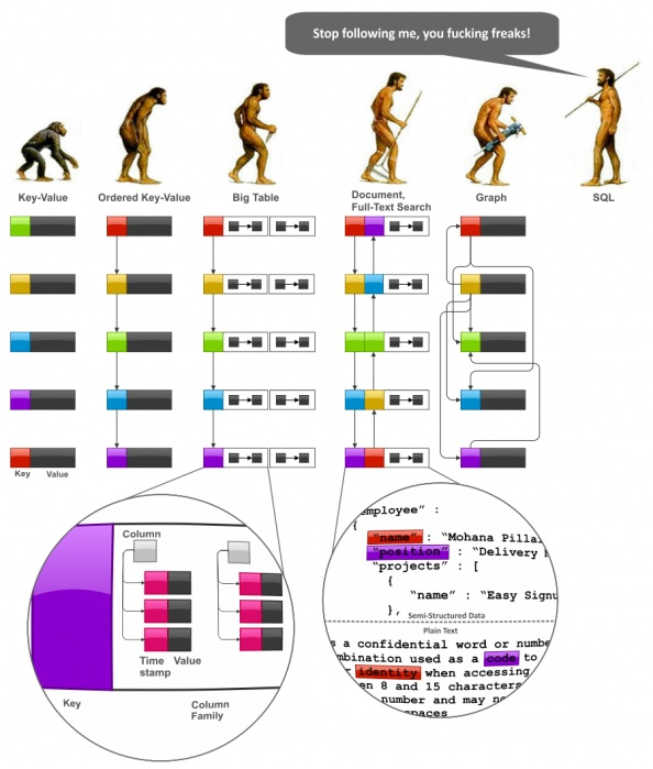 """To  explore data modeling techniques, we have to start with some more or less systematic view of NoSQL data models that preferably reveals trends and interconnections. The following figure depicts imaginary """"evolution"""" of the major NoSQL system families, namely, Key-Value stores, BigTable-style databases, Document databases, Full Text Search Engines, and Graph databases:"""