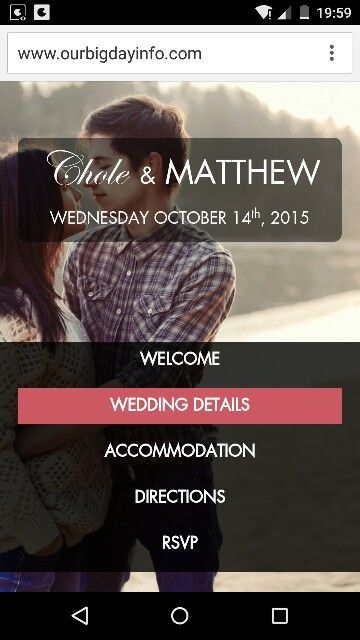 Our 'Picture Perfect' theme wedding website. Looks super on mobile!