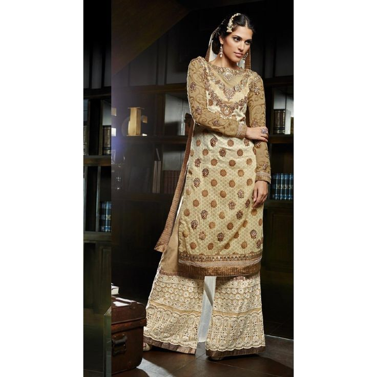 Beige Silk and Jacquard Indian #Sharara With Dupatta- $91.06