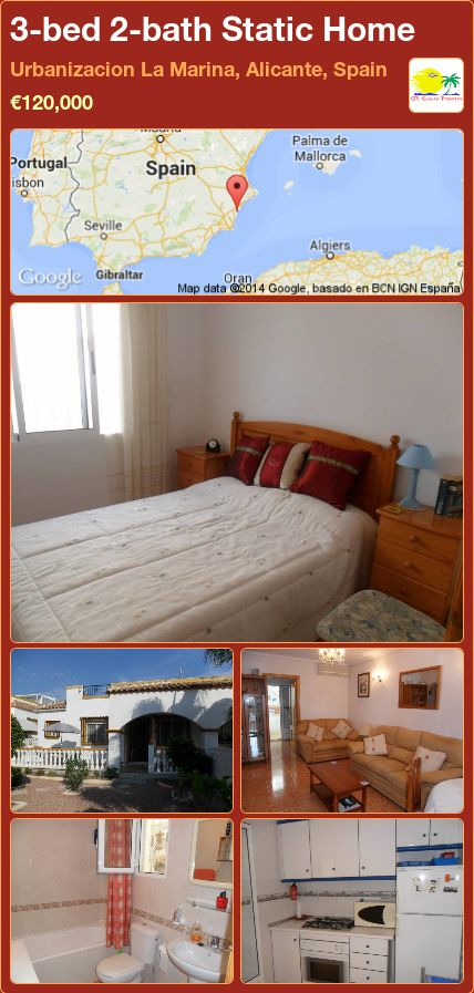 3-bed 2-bath Static Home for Sale in Urbanizacion La Marina, Alicante, Spain ►€120,000