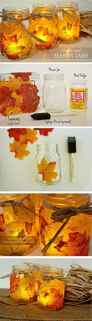 69  Autumn leaf mason jars