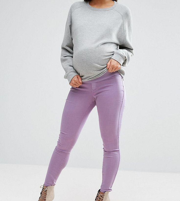 ASOS MATERNITY RIVINGTON High Waist Denim Jeggings in Washed Lilac - P