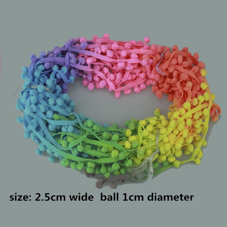 Cheap Rainbow Color Pom Pom Ball Trim Fringe Ribbon Lace DIY Handcrafted Fabric Sewing Supplies/Accessories for Pom Pom Shorts