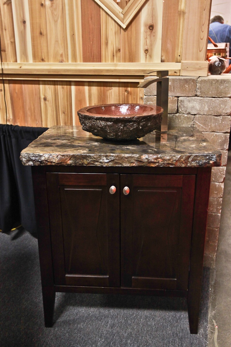 Attractive Concrete Countertop With Real Copper Concrete Vessel Sink
