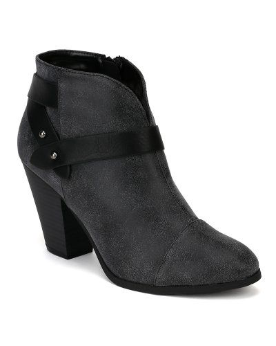 #FashionBug Brag-H Leatherette #Strappy Almond Toe Ankle Bootie - Grey www.fashionbug.us