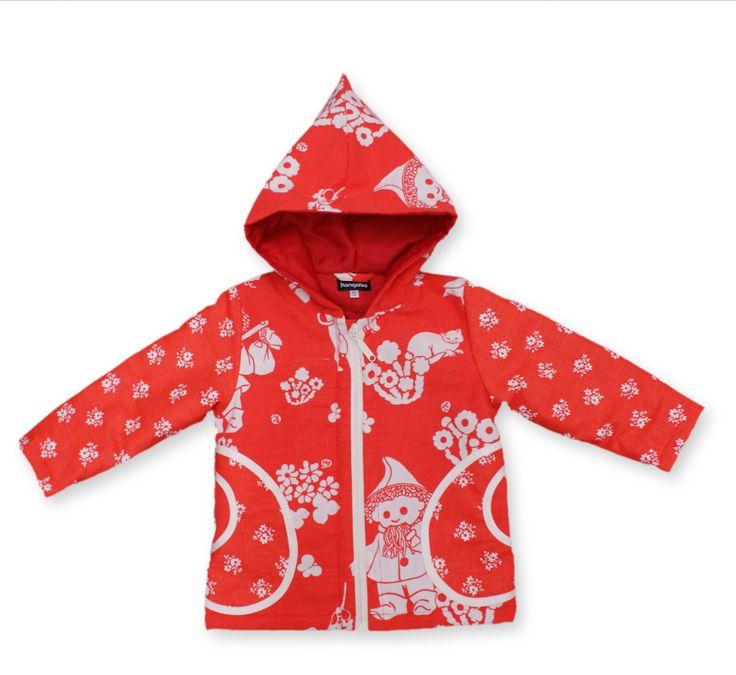 86/92cm Nukkumattitakki punainen Unique childrens jacket from KongaRoo - made of recycled vintage fabrics.