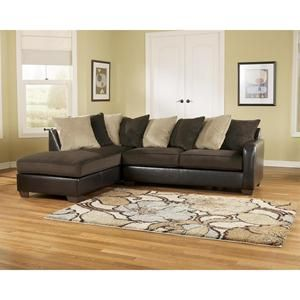 Gemini   Chocolate Contemporary Faux Leather Loose Pillow LAF Chaise  Sectional By Ashley Furniture   Becku0027s Furniture   Sofa Sectional
