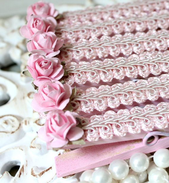 Set of 6 Pastel Pink Brocade and Roses by thecottagemarket on Etsy