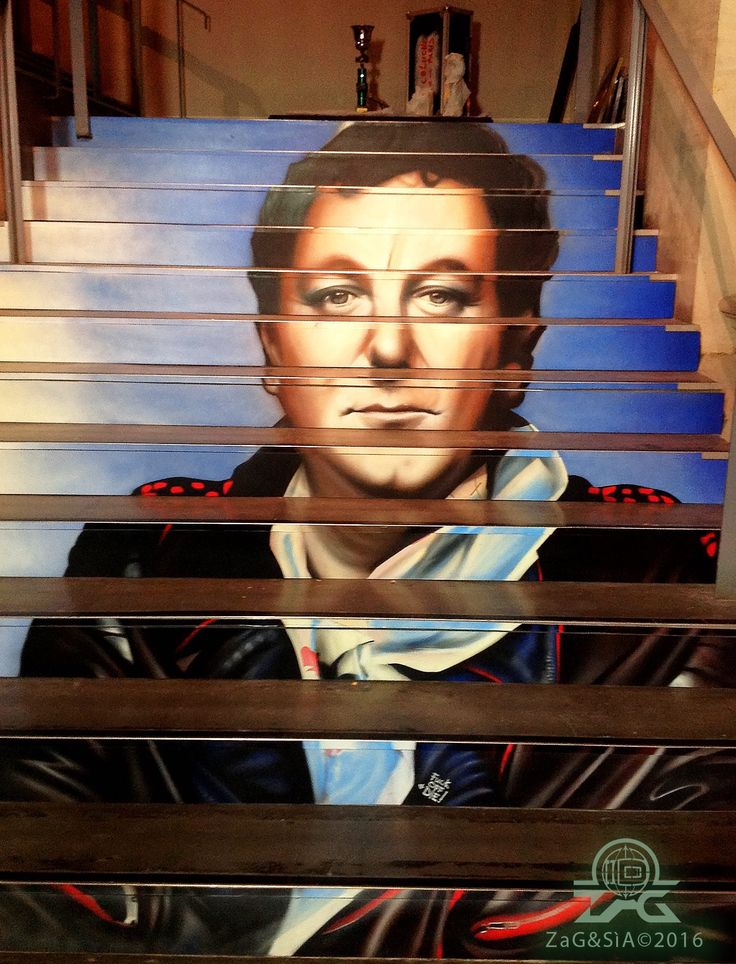 portrait of Coluche by Zag & Sìa in Paris, 10/16 (LP)
