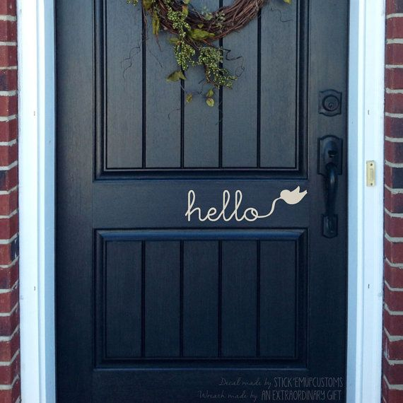 Hello Wall Decal Cursive Writing Flying Bird Door Entryway Home Decor Sticker Art