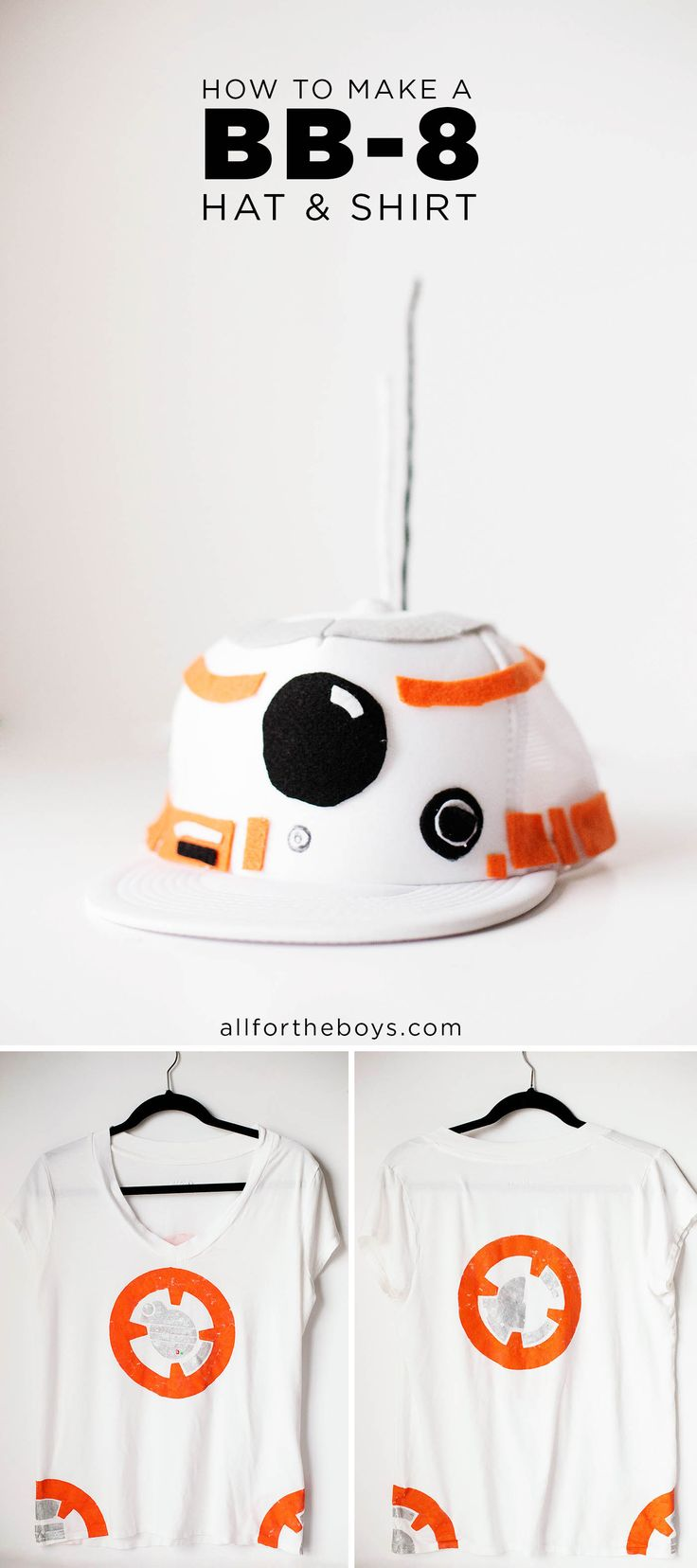 DIY BB-8 Droid hat & shirt costume. Perfect for a Star Wars Run Disney costume, halloween or just a trip to Disneyland or Walt Disney World!