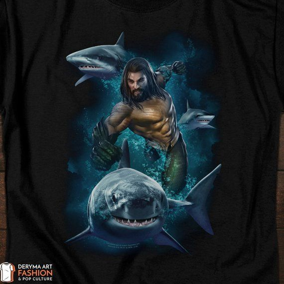 5d1ebcfb1bada Aquaman T-Shirt, Jason Momoa in Aquaman Movie, Superhero Movie Tee ...