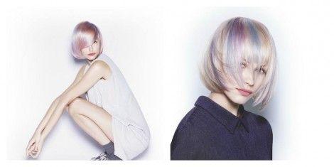 Taglio capelli a caschetto medio corto sfumato di rosa e azzurro estate 2015